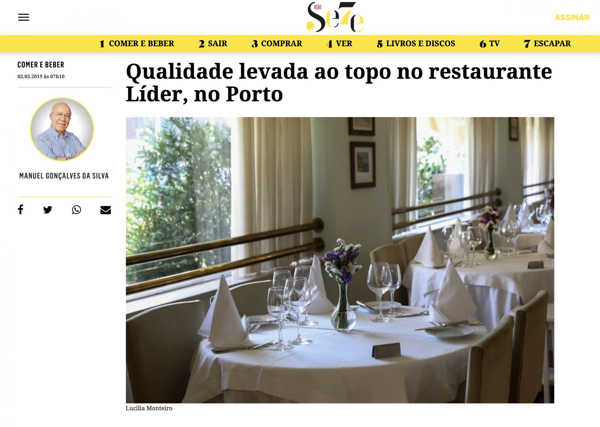 Visão – Qualidade levada ao topo no restaurante Líder, no Porto
