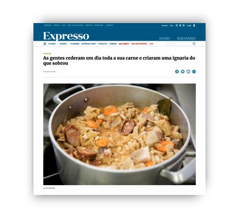 Expresso – As gentes cederam um dia toda a sua carne e criaram uma iguaria do que sobrou